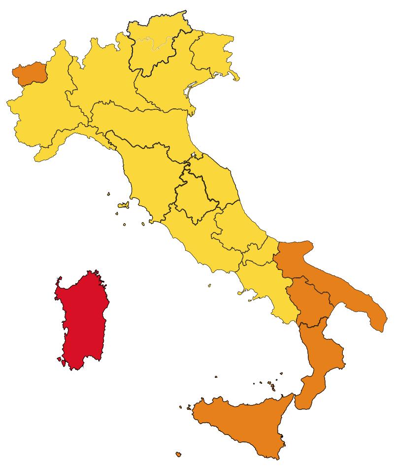 italie coronavirus map